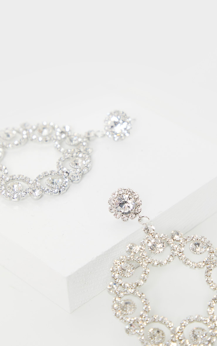 Silver Diamante Flower Circle Door Knocker Earring 2