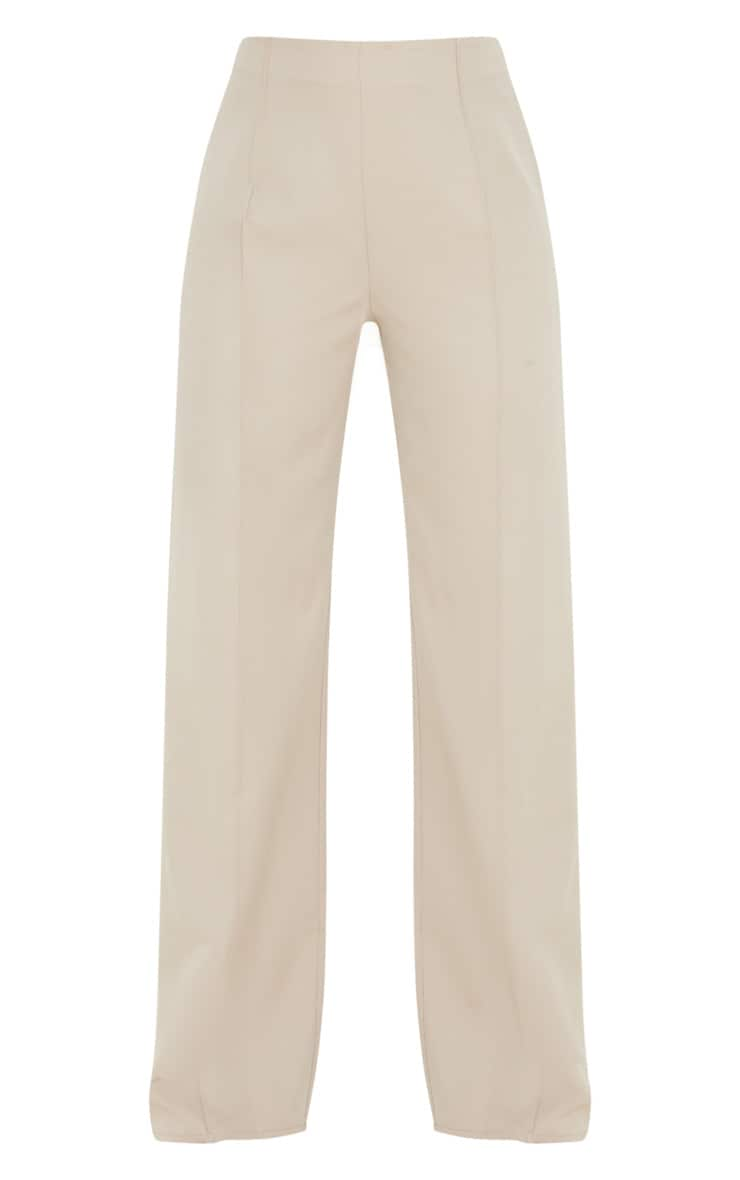 Taupe High Waisted Seam Detail Wide Leg Trouser 3