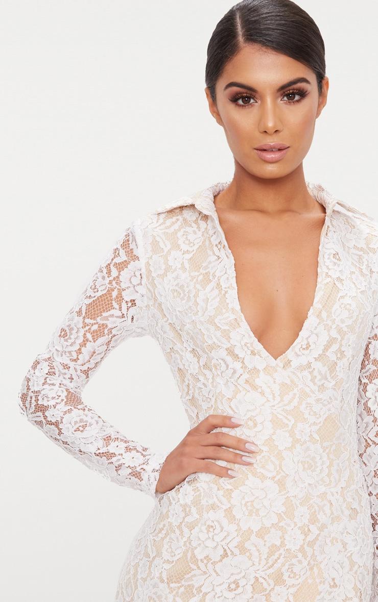 White Lace Blazer Dress 5