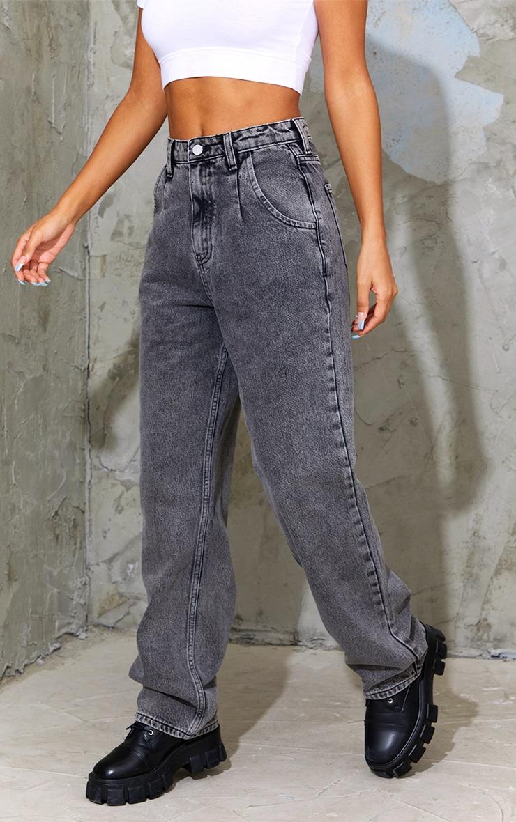 Washed Black Seam Detail Wide Leg Jean 2