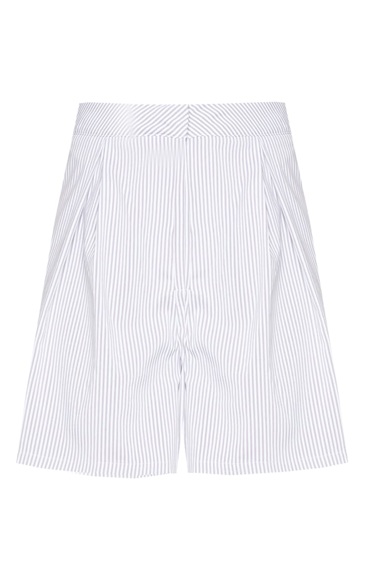 Grey Pinstripe Textured Woven Tailored Shorts 6