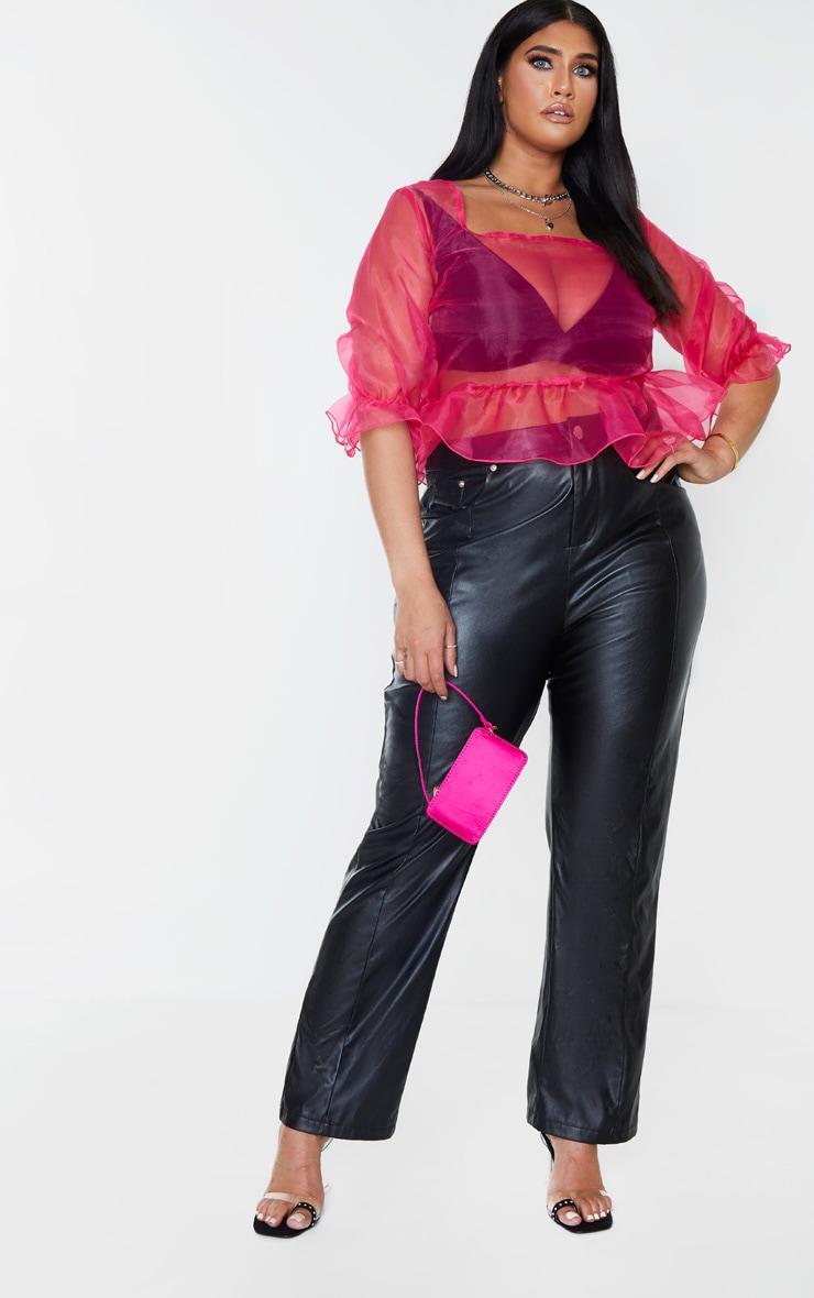 Plus Hot Pink Sheer Organza Puff Sleeved Crop Top 1