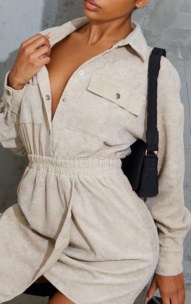 Stone Cord Pocket Popper Detail Shirt Dress 4