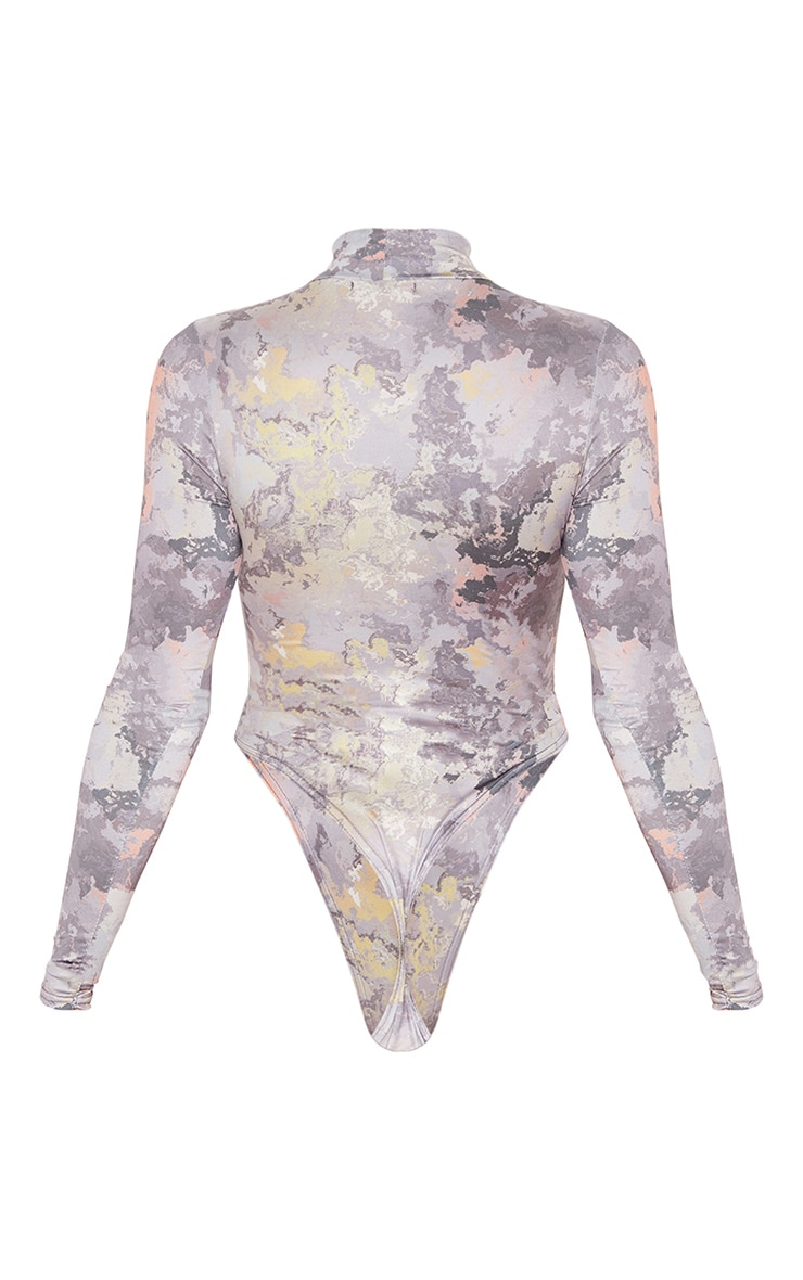 Grey Marble Printed Slinky High Neck Bodysuit 3