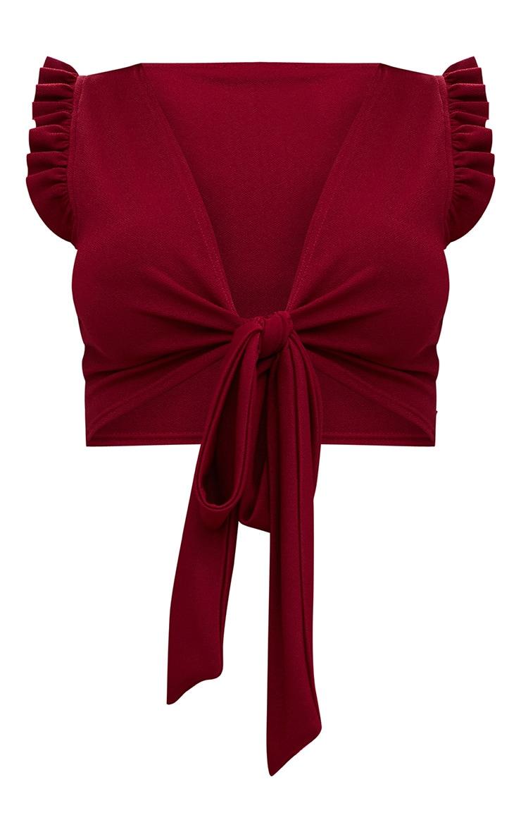Burgundy Frill Sleeveless Tie Front Crop Top 3
