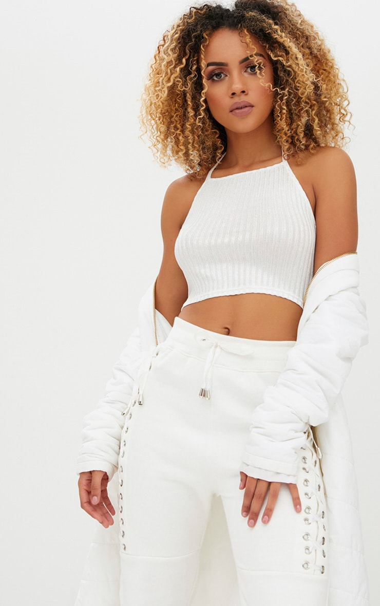 White Ribbed Shine Halterneck Crop Top 1