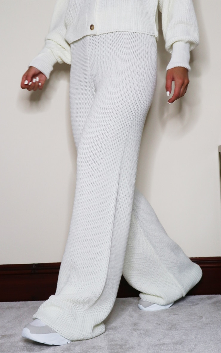Cream Wide Leg Ribbed Knitted Pants 1