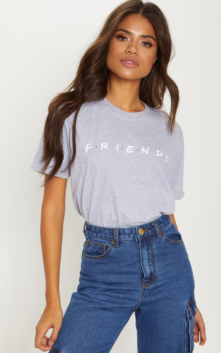 Grey Marl Friends Logo Printed T-Shirt 1