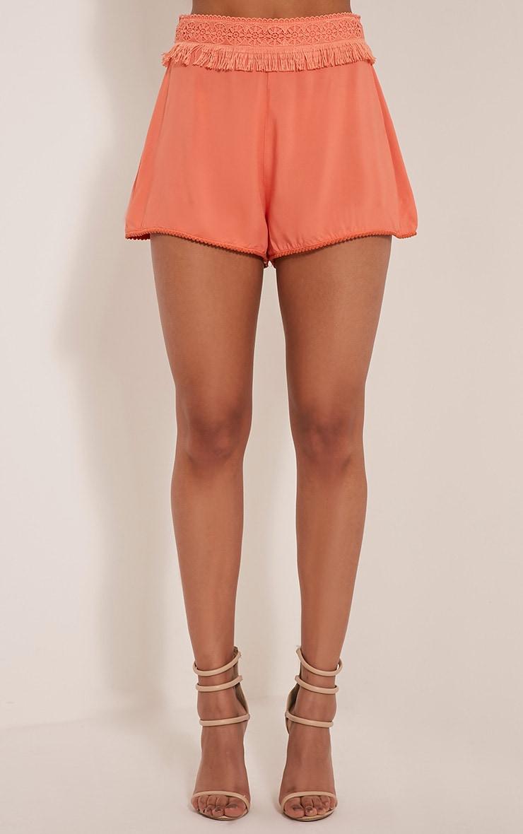Marielle Coral Fringe Trim Waist Shorts 2