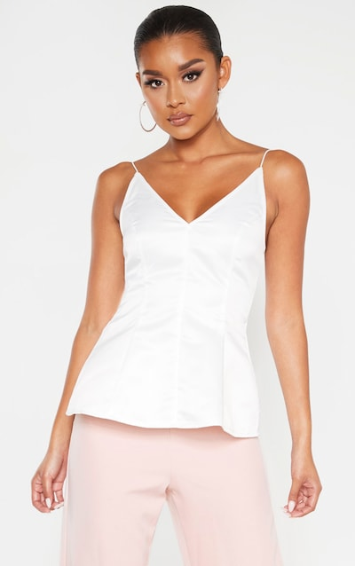 White Satin Peplum Structured Long Top
