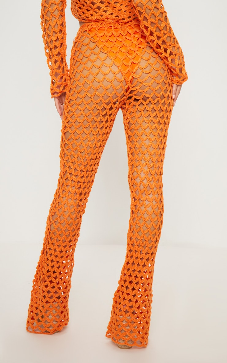 Pantalon flare en crochet orange 4