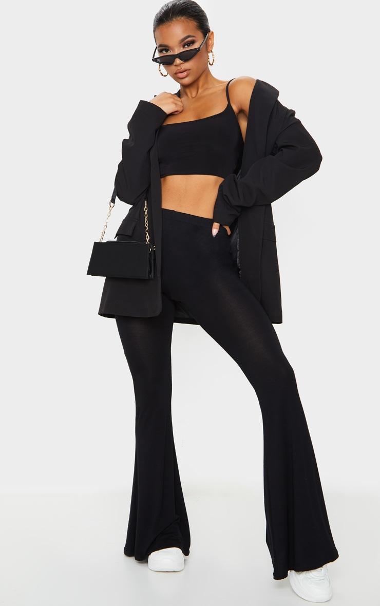 Basic Black Jersey Flared Pants 1