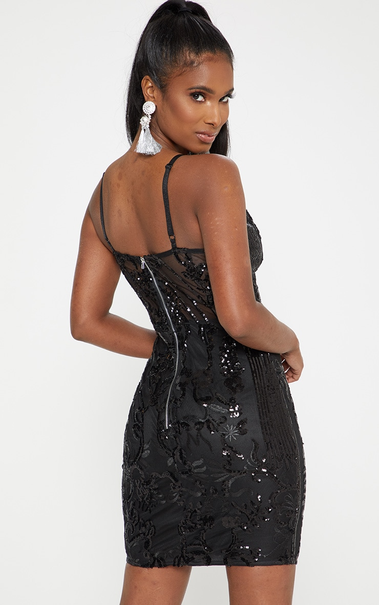 Black Strappy Sheer Panel Sequin Bodycon Dress 2