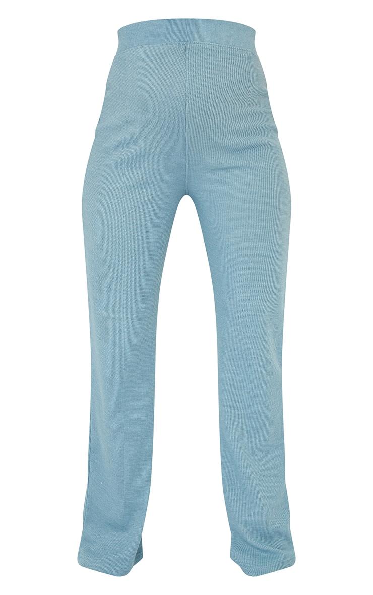 Maternity Blue Waffle Wide Leg Trousers 5