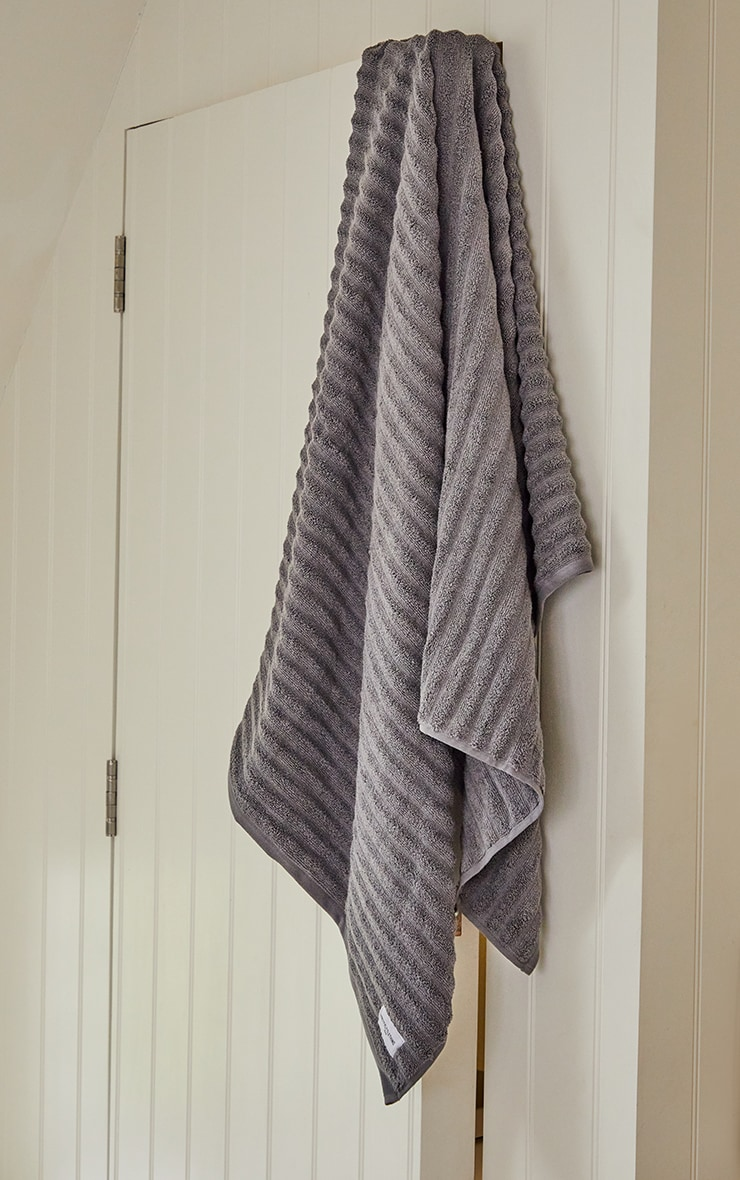Charcoal Textured Ribbed Cotton Large Bath Towel  2