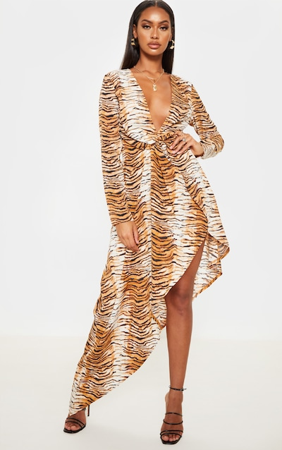 Nude Animal Print Asymmetric Hem Long Sleeve Plunge Maxi