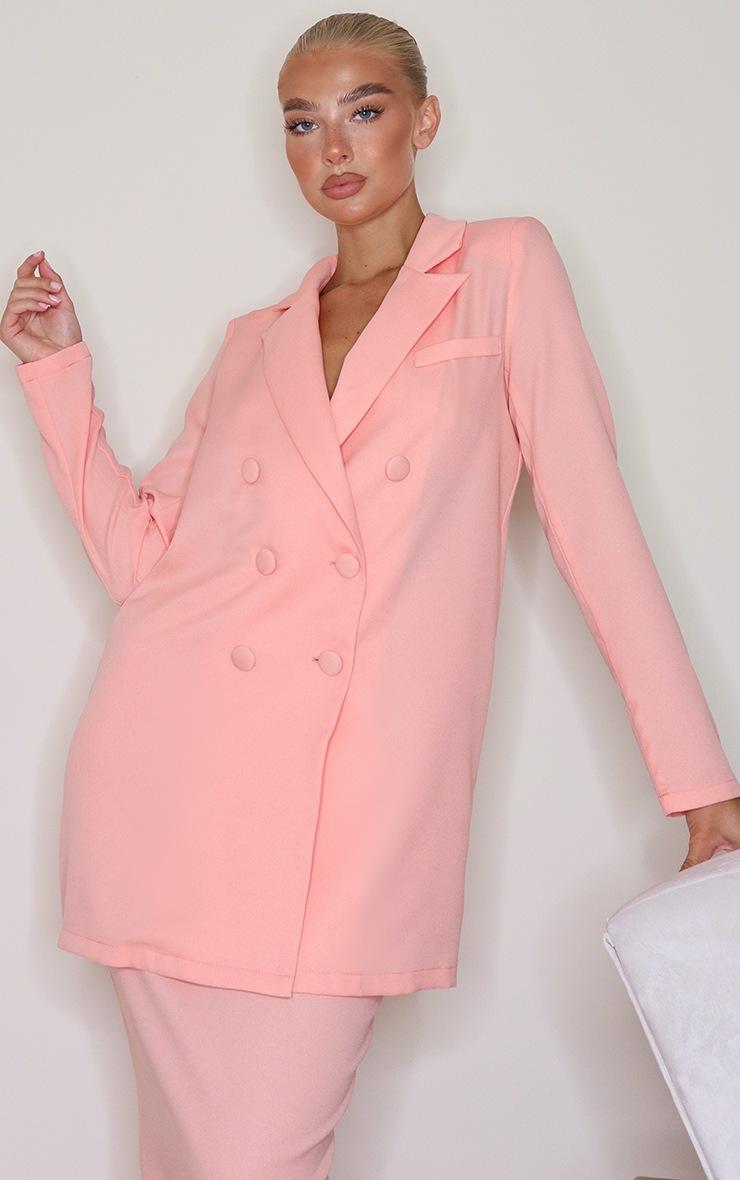 Peach Oversized Longline Button Detailing Blazer 3