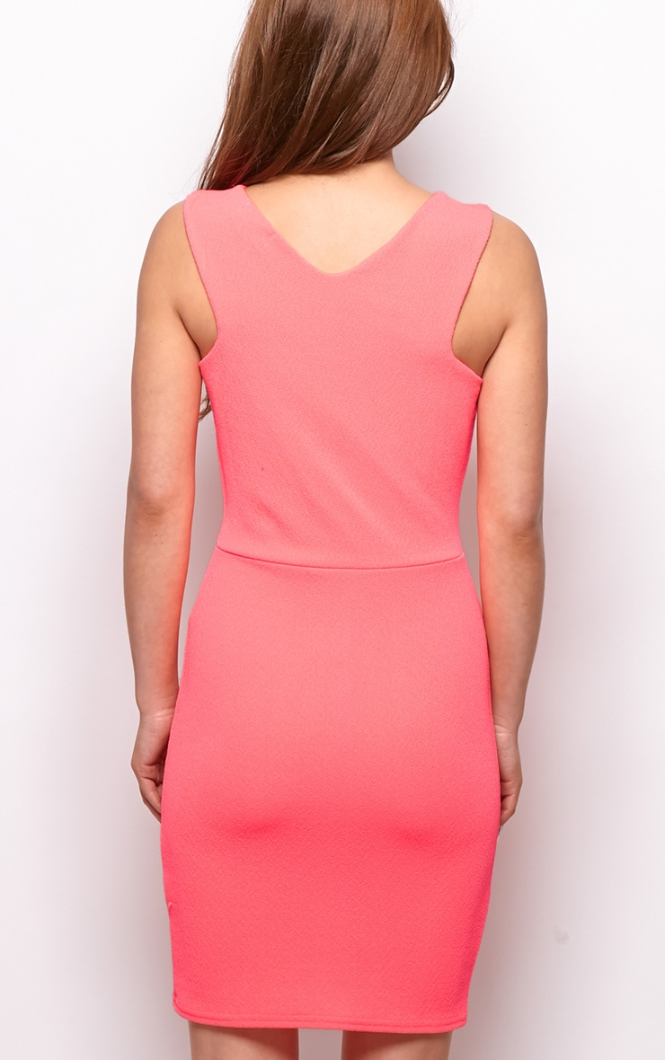 Allina Neon Pink V Detail Dress 2