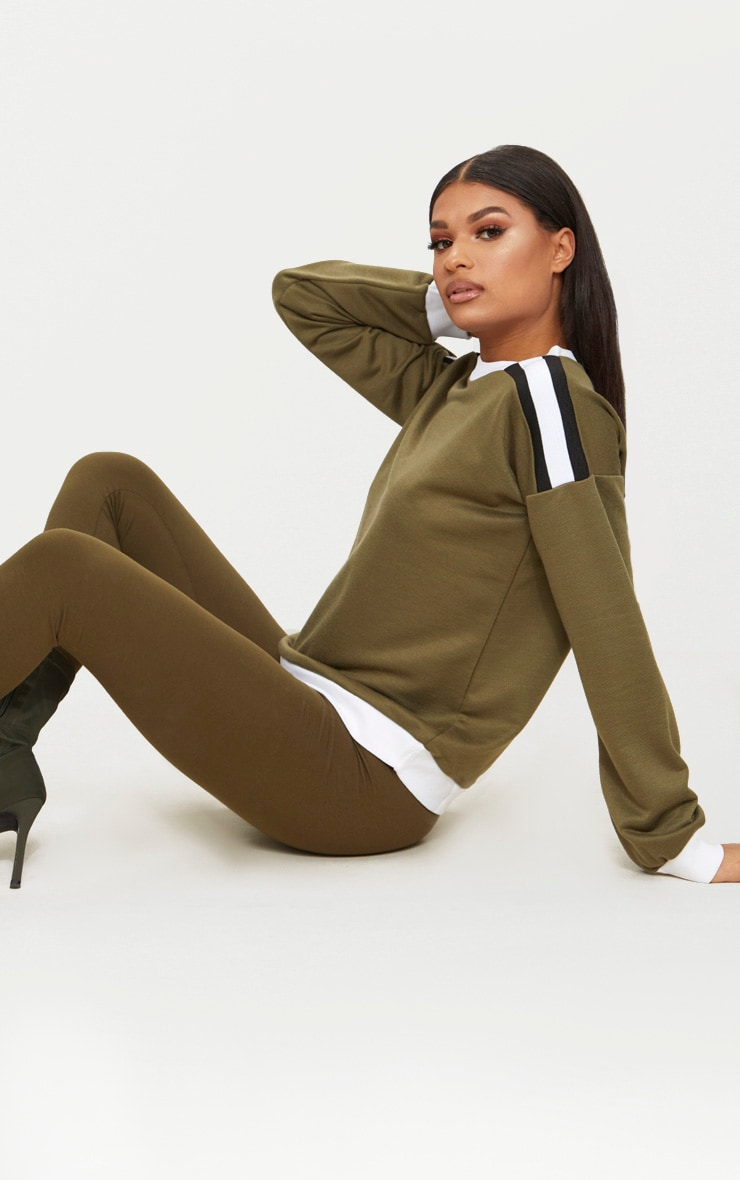 Khaki Triple Shoulder Stripe Oversized Sweater  1