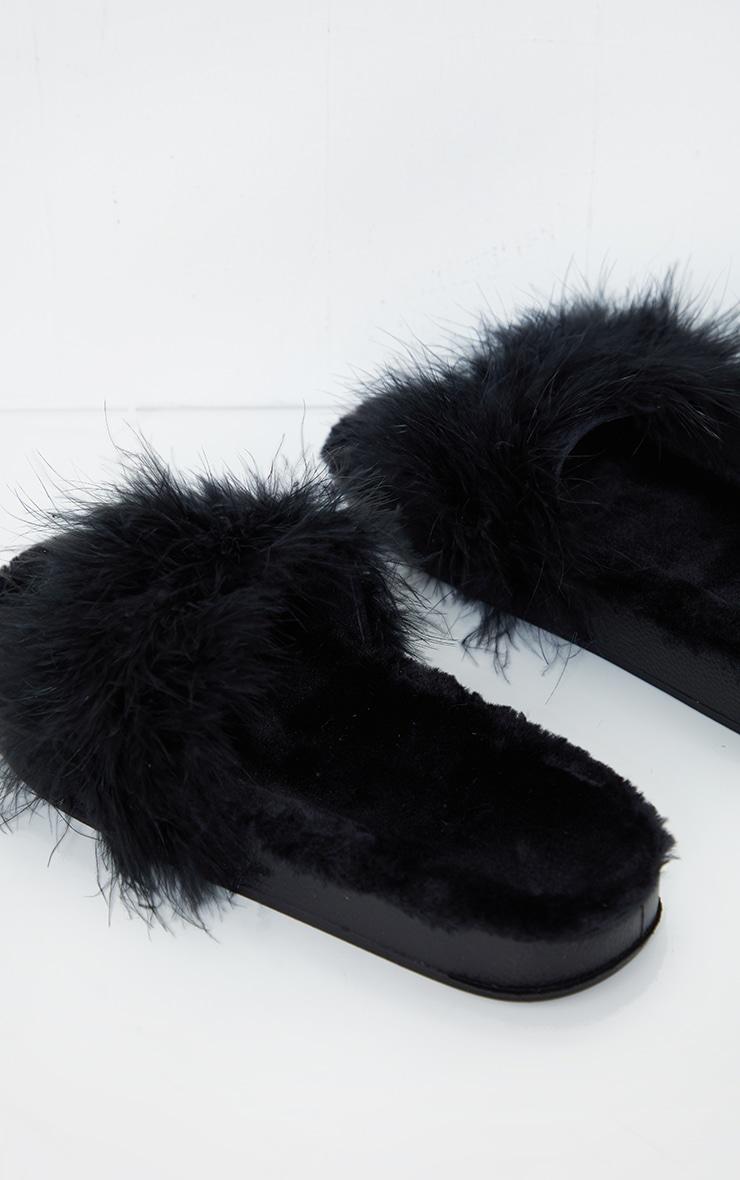 Black Feather Strap Faux Fur Flatform Sliders 3