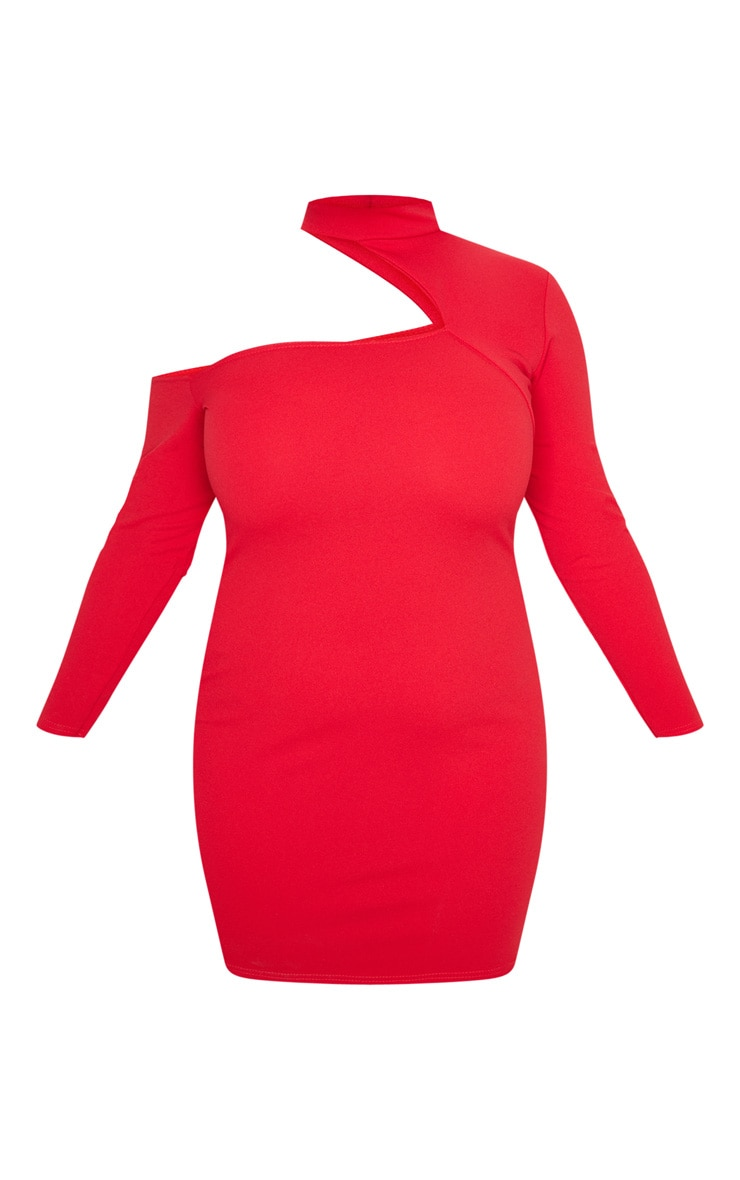Plus Red Crepe One Shoulder Choker Bodycon Dress 3