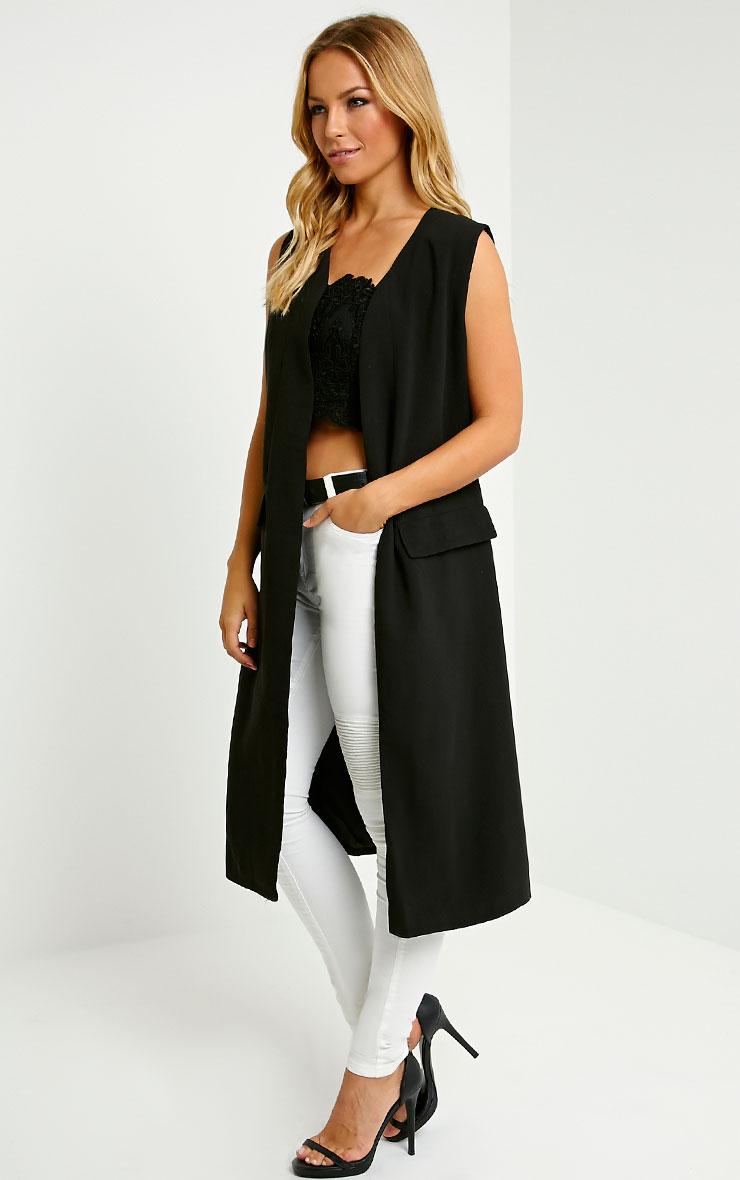 Vari Black  Long Line Sleeveless Tailored Blazer 1
