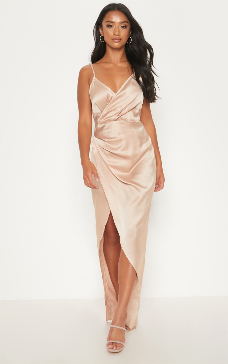 Petite Champagne Satin Wrap Detail Maxi Dress 4