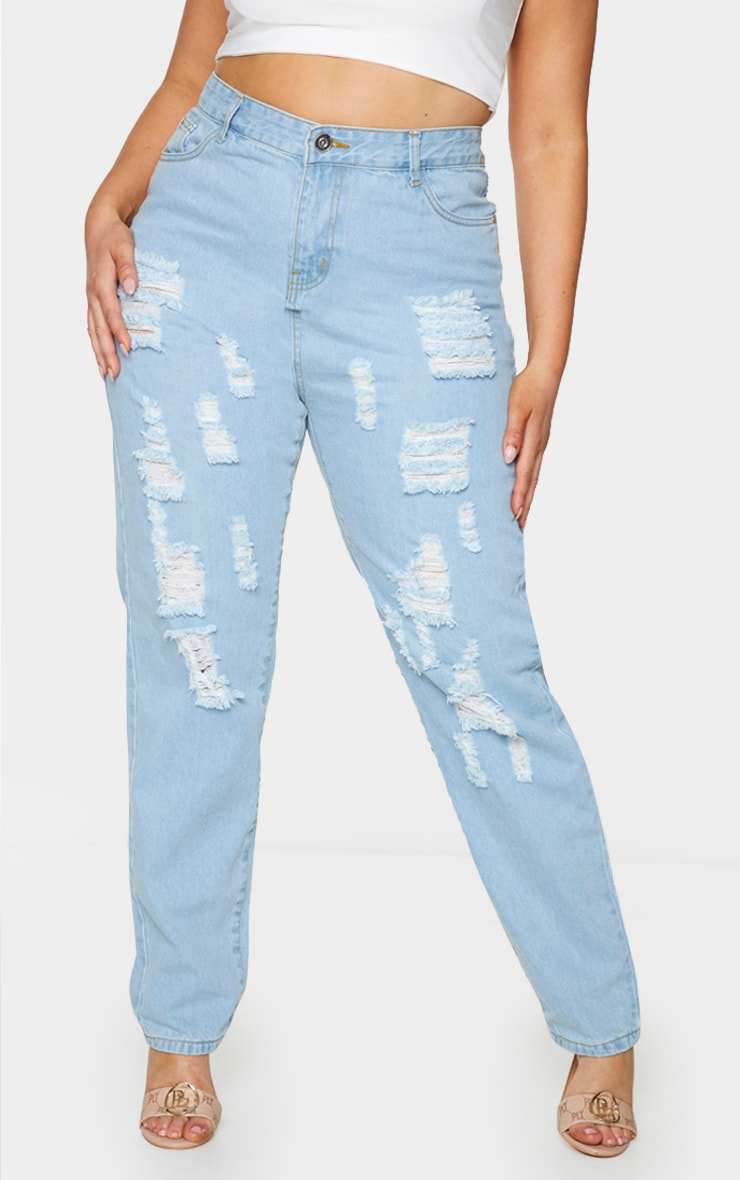 Plus Light Wash Extreme Distressed Rip Mom Jeans 2