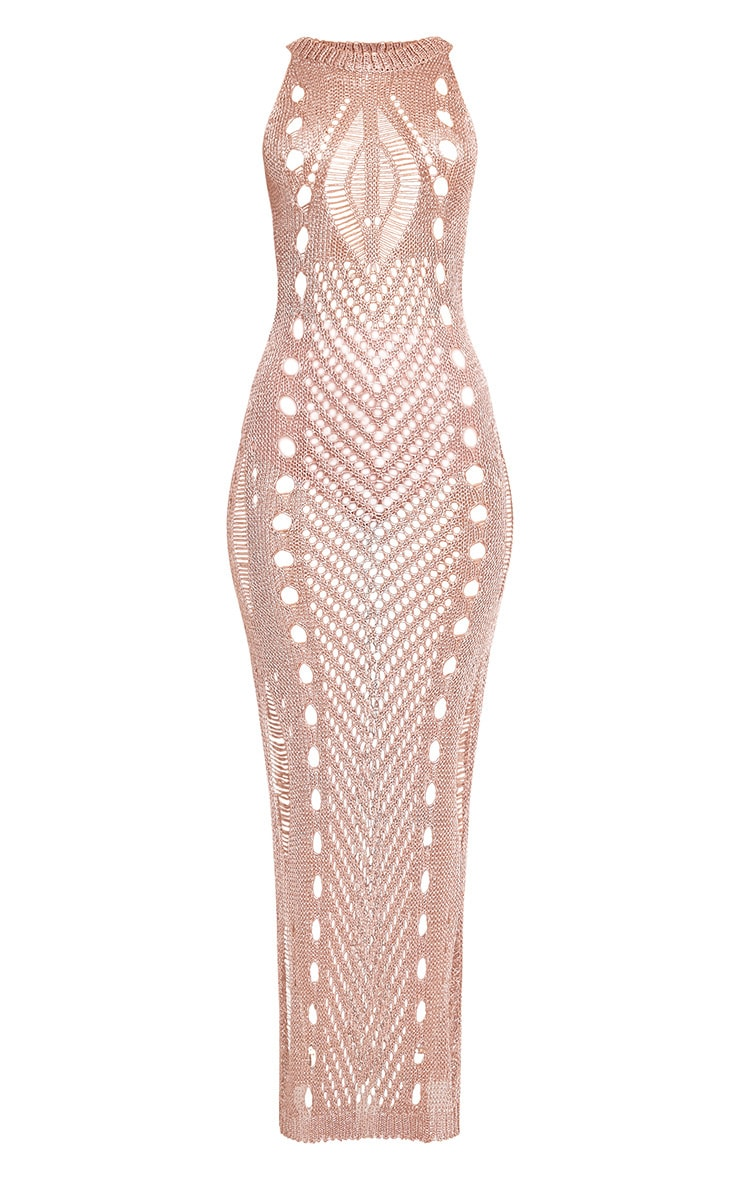 Donatella Rose Gold Metallic Pointelle Knit Maxi Dress 3
