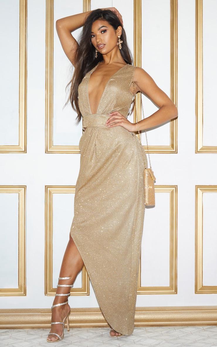 Gold Metallic Knit Asymmetric Cut Out Maxi Dress 3