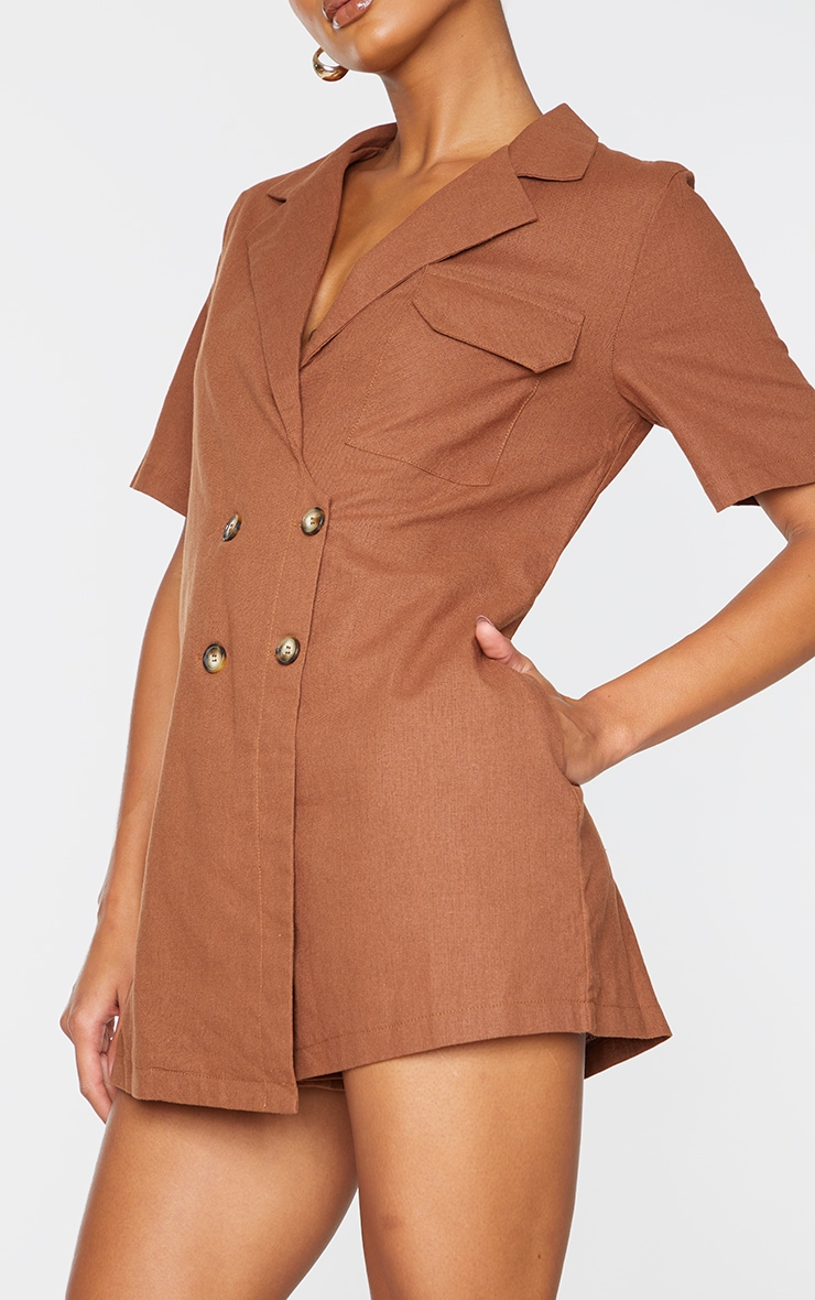 Chocolate Linen Look Boxy Playsuit 4