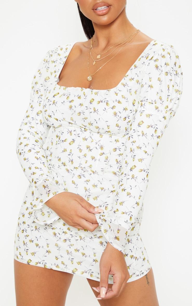 Petite White Floral Print Flare Cuff Puff Shoulder Dress 5