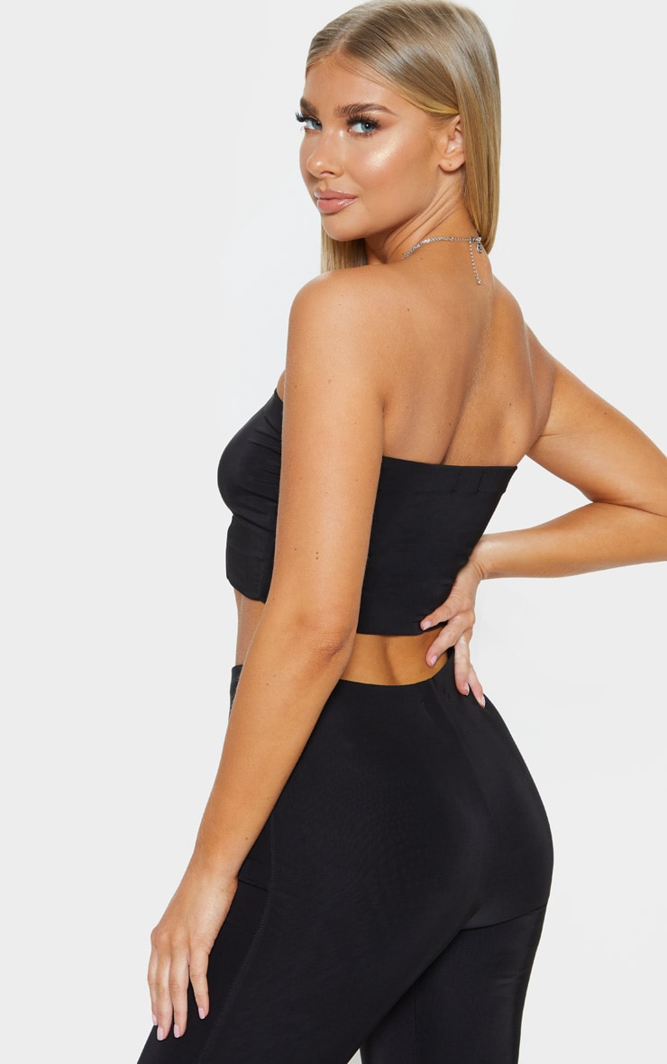 Helsa Black Slinky Bandeau Crop Top 2