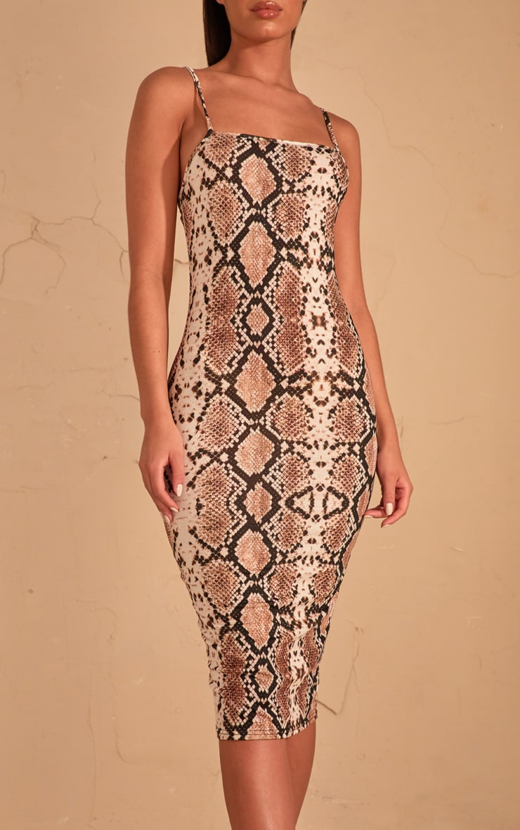 Beige Snake Print Strappy Midi Dress 5