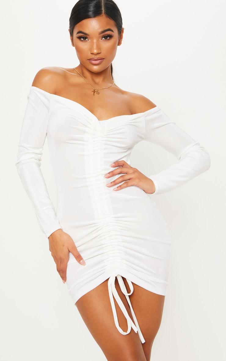 Ivory Velvet Bardot Long Sleeve Ruched Bodycon Dress