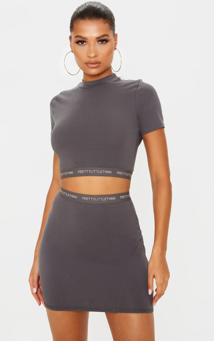 PRETTYLITTLETHING Lead Grey Tape Jersey Mini Skirt 1