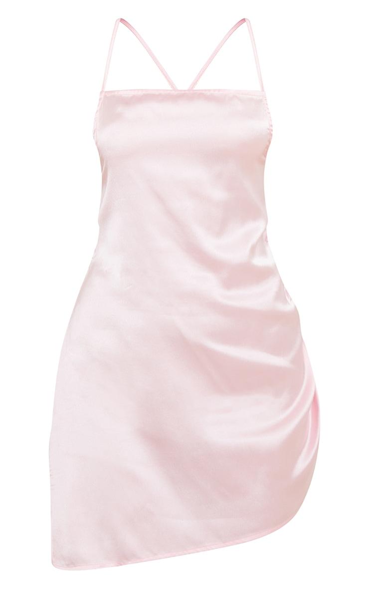 Pale Pink Tie Detail Ruched Satin Nightie 5