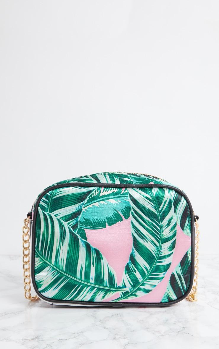 Pink Palm Leaf Print Chain Cross Body Bag 6
