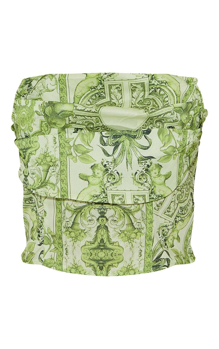 Lime Border Renaissance Print Woven Tiered Pleat Detail Corset 5