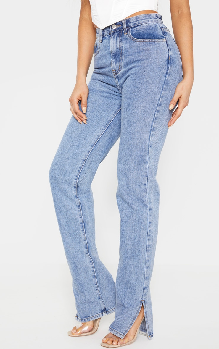 Tall Mid Wash Split Hem Jeans 3