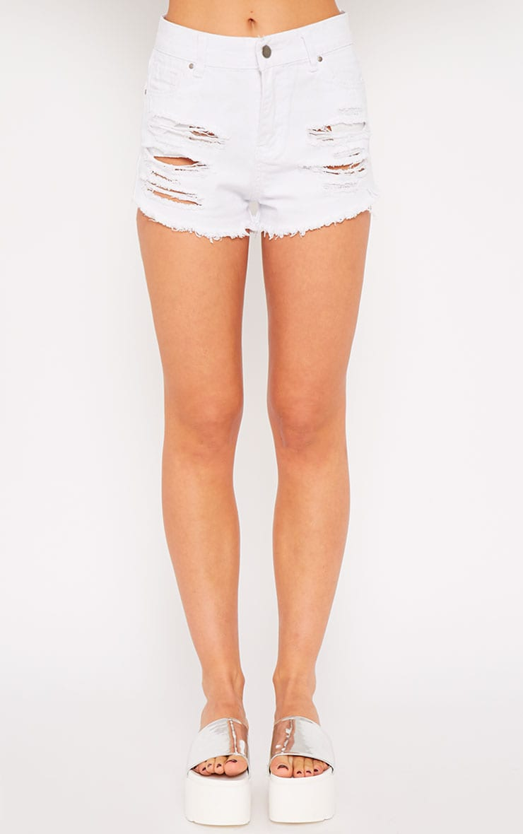 Sidney White Ripped Denim Hotpants 4