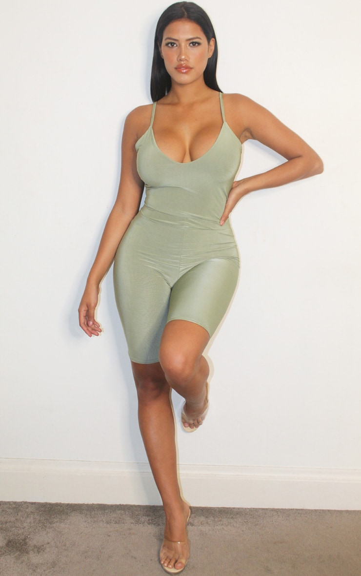 Shape Sage Green Slinky Double Layer Bodysuit 3
