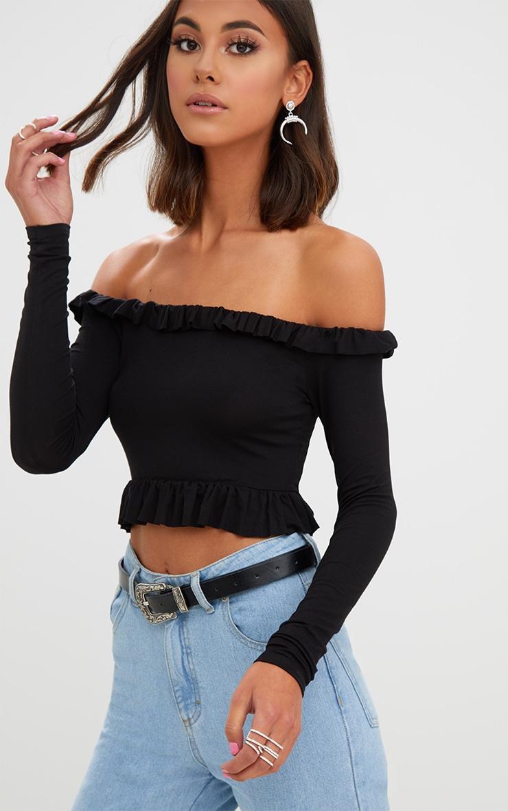 Crop top bardot noir en jersey à volants 2