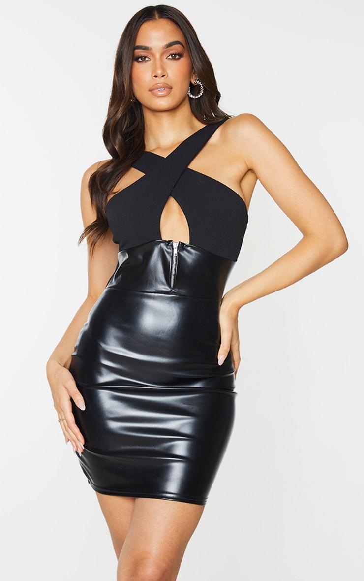 Black PU Zip Detail Cross Front Bodycon Dress 1