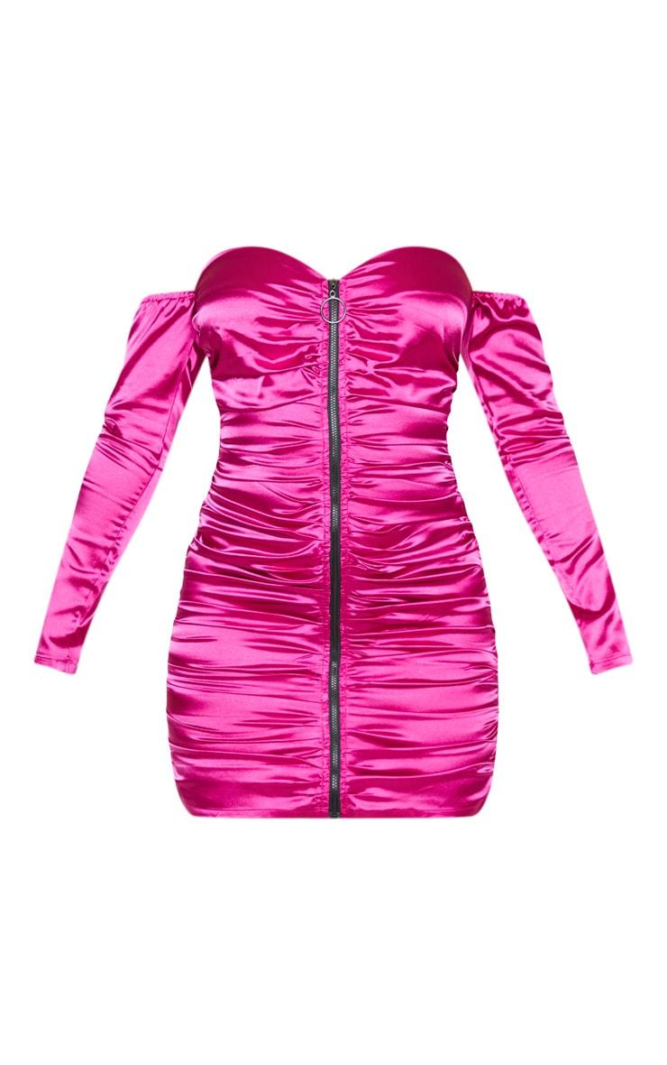 Hot Pink Satin Zip Through Ruched Bardot Bodycon Dress 3