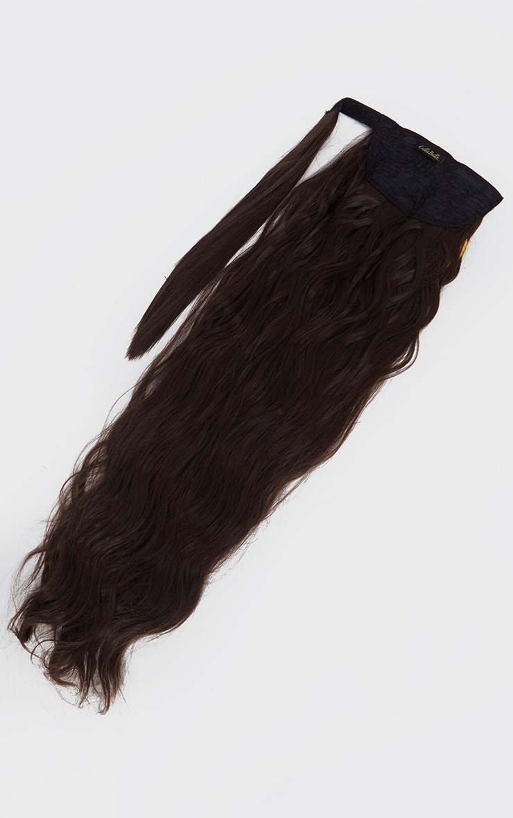 LullaBellz Grande Lengths 26 Textured Wave Wraparound Pony Dark Brown 5