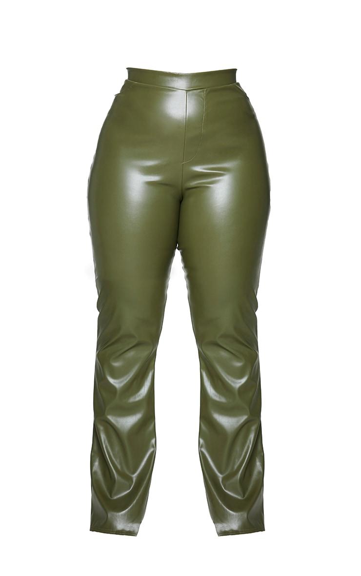 Plus Khaki PU Flared Pants 5