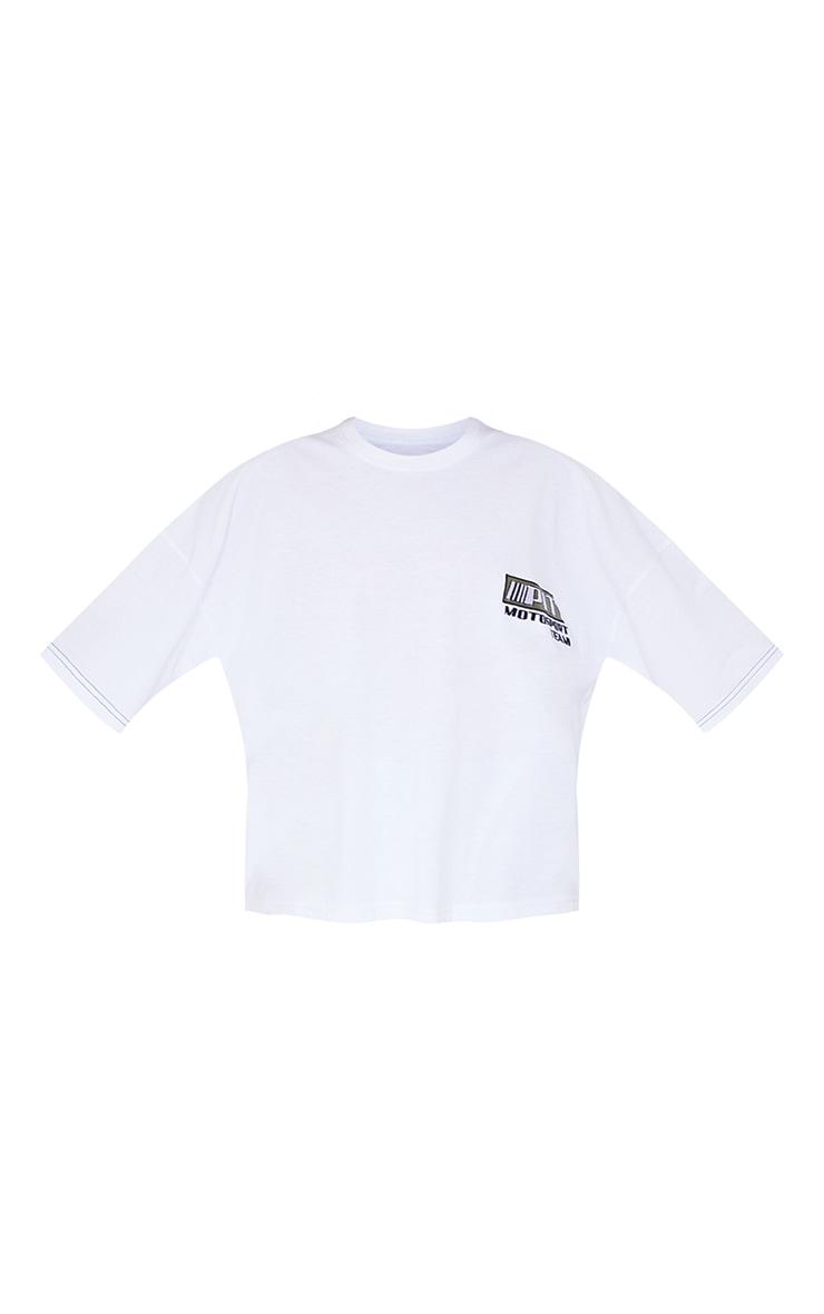 PRETTYLITTLETHING White Moto Embroidered Oversized T Shirt 5