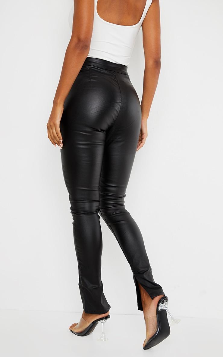 Black Coated Denim Long Leg Split Hem Slim Fit Jeans 3