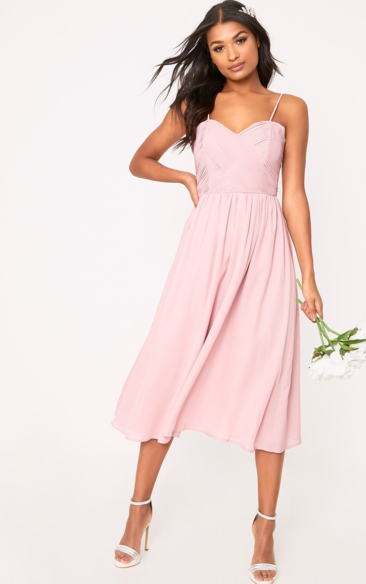 Gracelyn Dusty Pink Pleat Detail Midi Dress  4